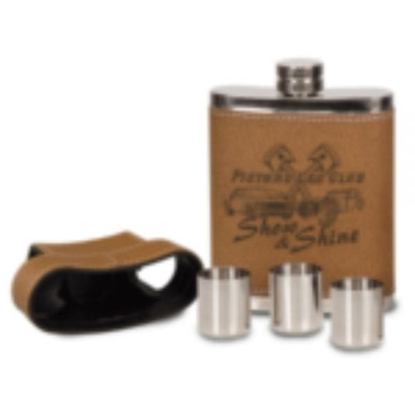 7oz Leather Cased Flask with Lid & 3 Shot Glasses